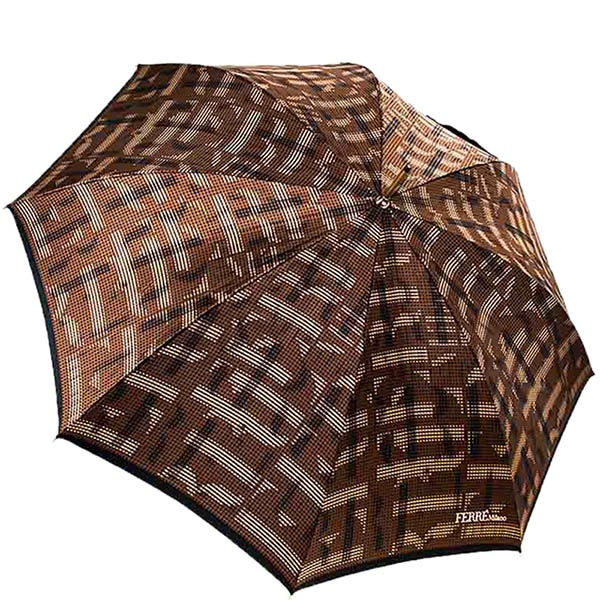 Переливающийся коричневый зонт-трость Ferre с полуавтоматическим режимом