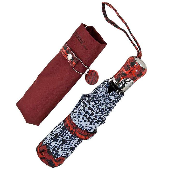 Большой автоматический зонт Ferre с принтом под кожу крокодила и змеи