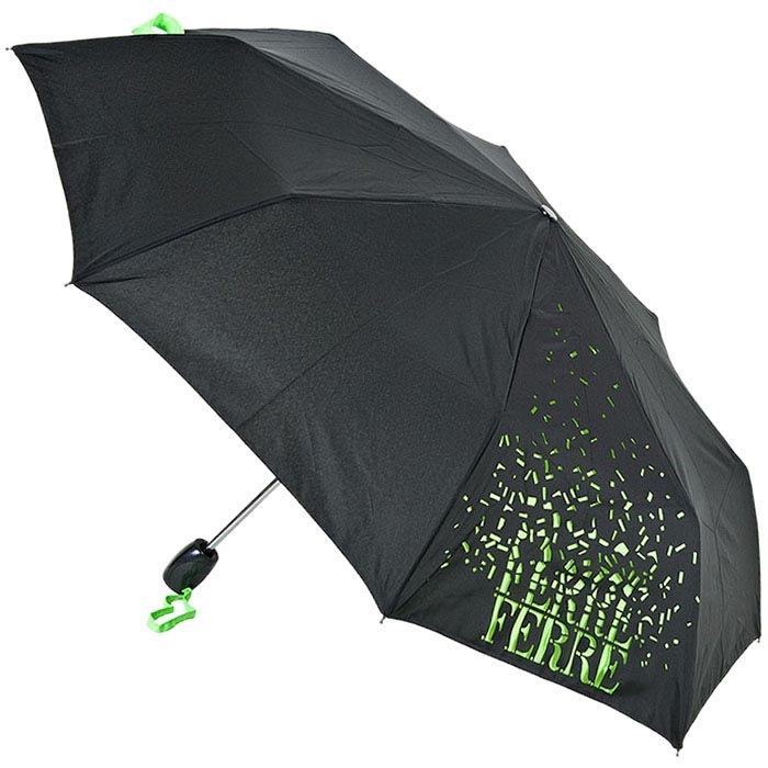Зонт-трость Ferre черного цвета с брендированным ярко-зеленым принтом