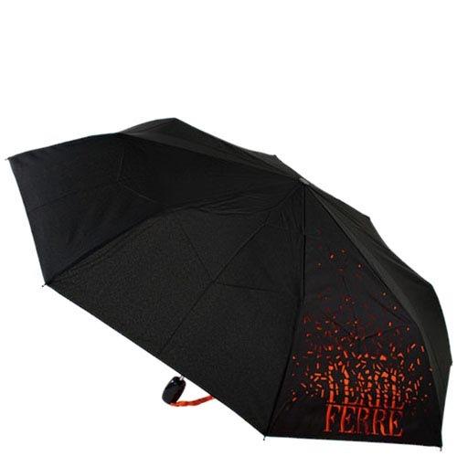 Зонт-трость Ferre черного цвета с брендированным оранжевым принтом