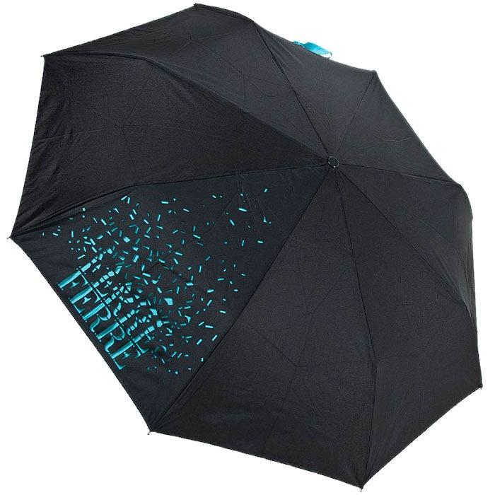 Черный зонт-автомат Ferre с голубым принтом