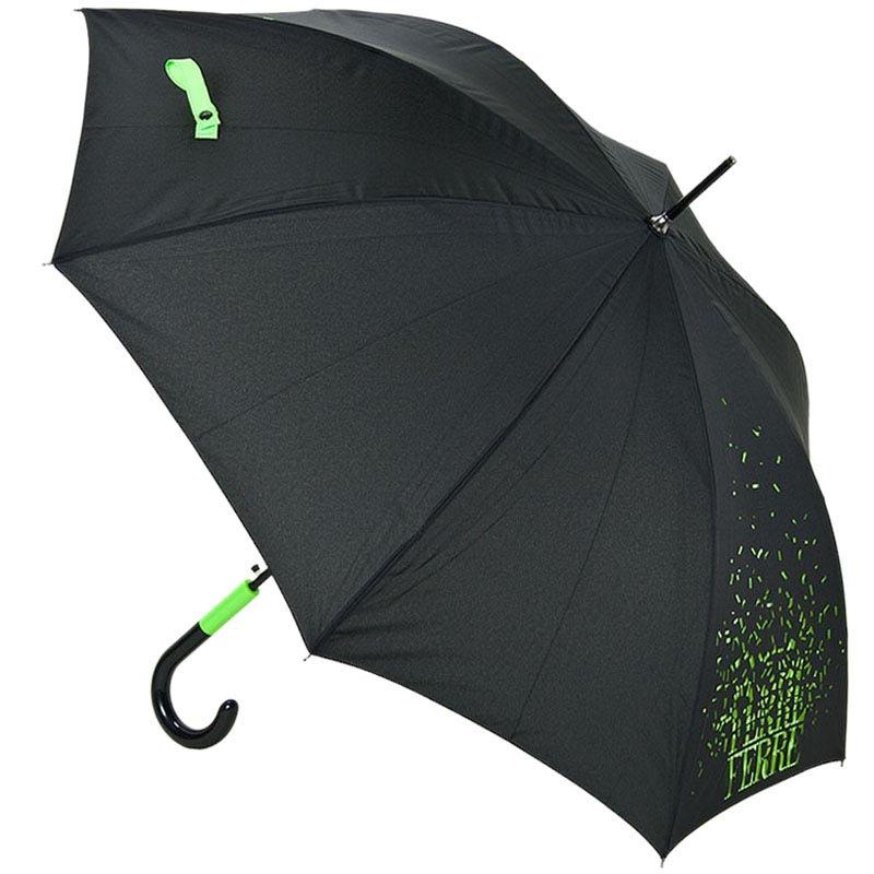 Черный зонт-трость Ferre с ярким зеленым принтом и прочным каркасом