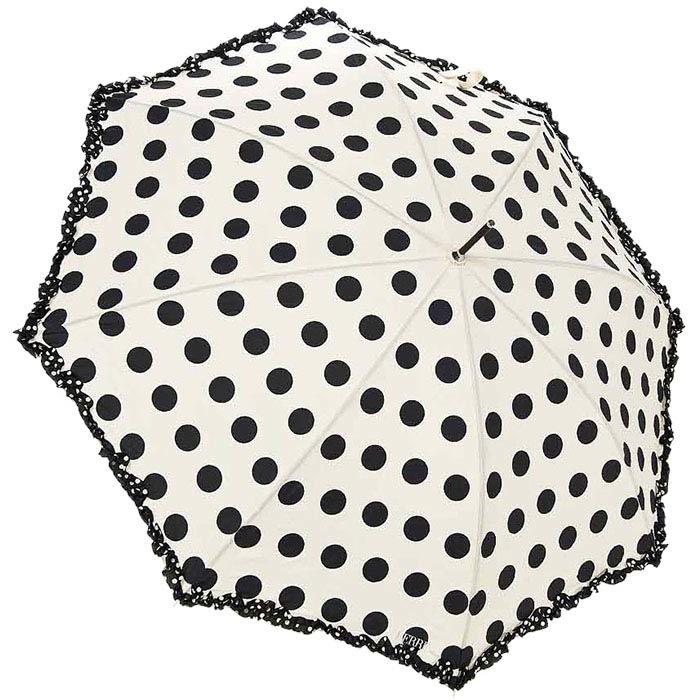 Зонт-трость Ferre в черный горошек с рюшами и прочным каркасом