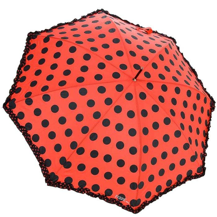 Большой зонт-трость Ferre красного цвета в черный горох