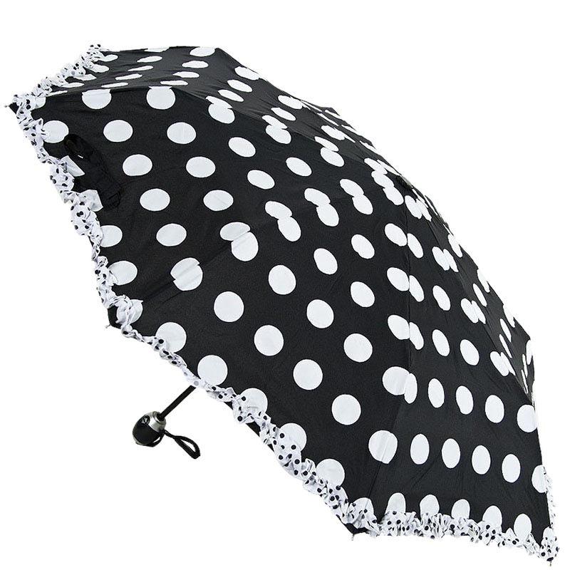 Черно-белый зонт Ferre в горошек с автоматическим механизмом