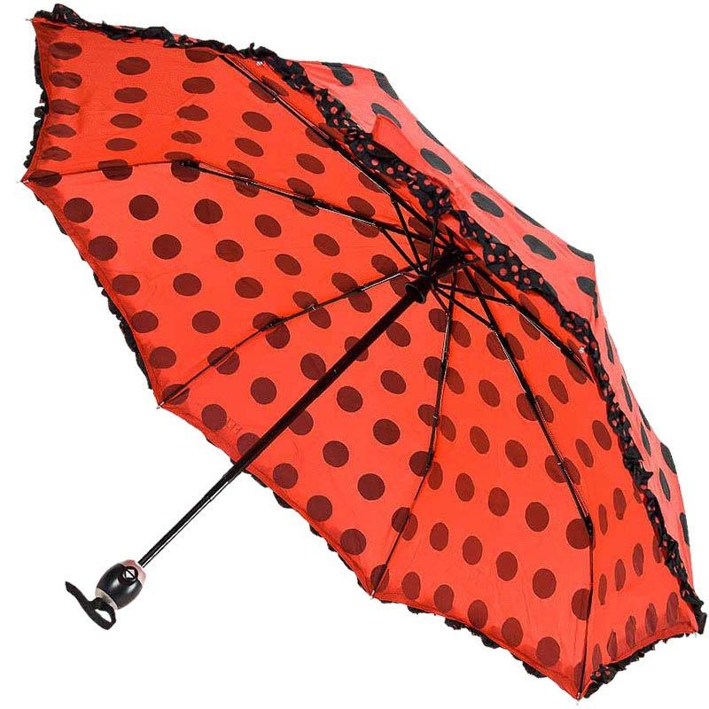Автоматический красный зонтик Ferre в черный горох