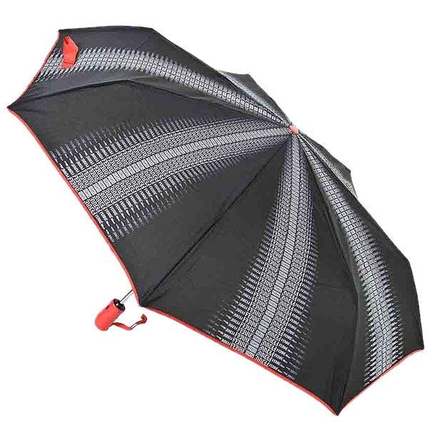 Маленький зонт-автомат Ferre серого цвета с красной каймой и ручкой