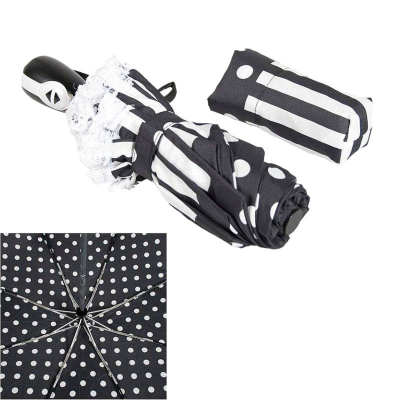 Черно-белый женский зонт Ferre с системой антиветер и автоматическим механизмом