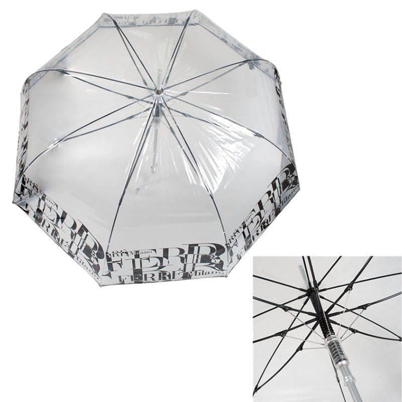 Прозрачный зонт-трость Ferre с полуавтоматическим механизмом и системой антиветер