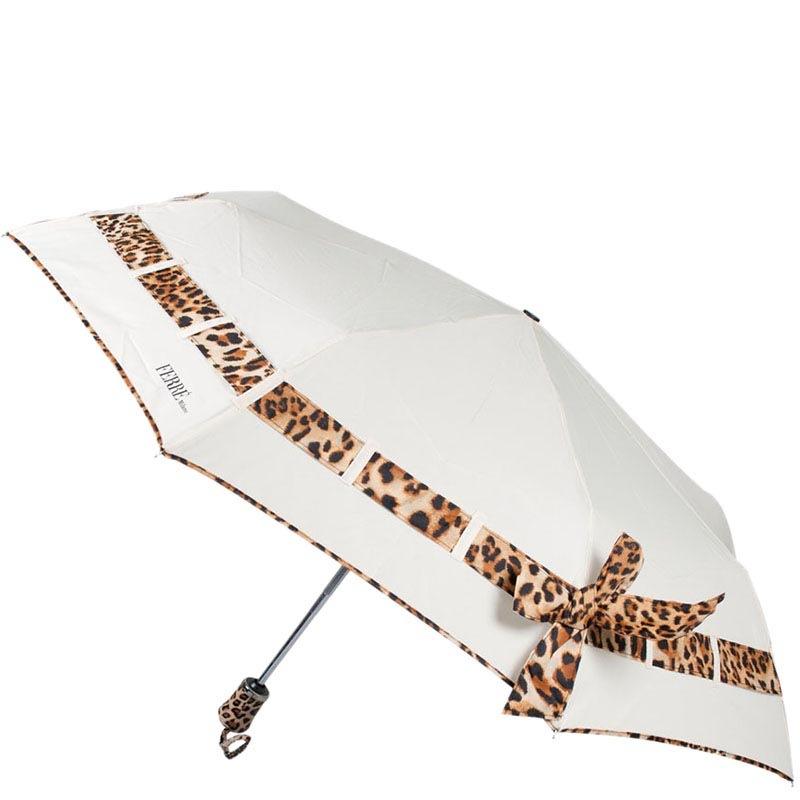 Белый автоматический зонт Ferre с леопардовым принтом-полоской