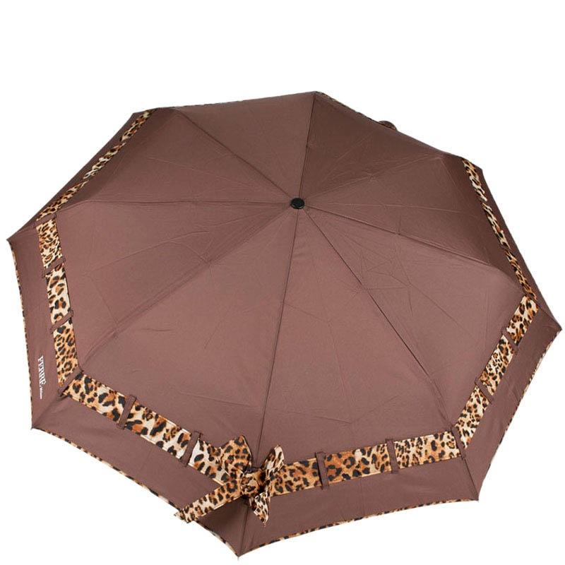 Коричневый зонт Ferre с леопардовым принтом-полоской и системой антиветер