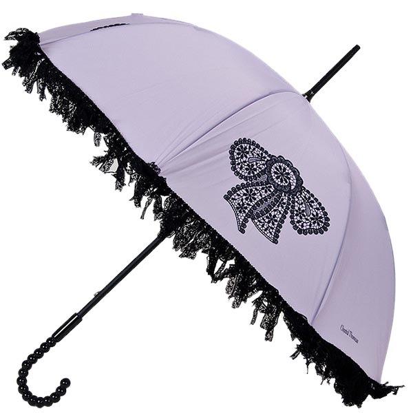 Женственный механический зонт-трость Chantal Thomass с рюшами и принтом-бантиком