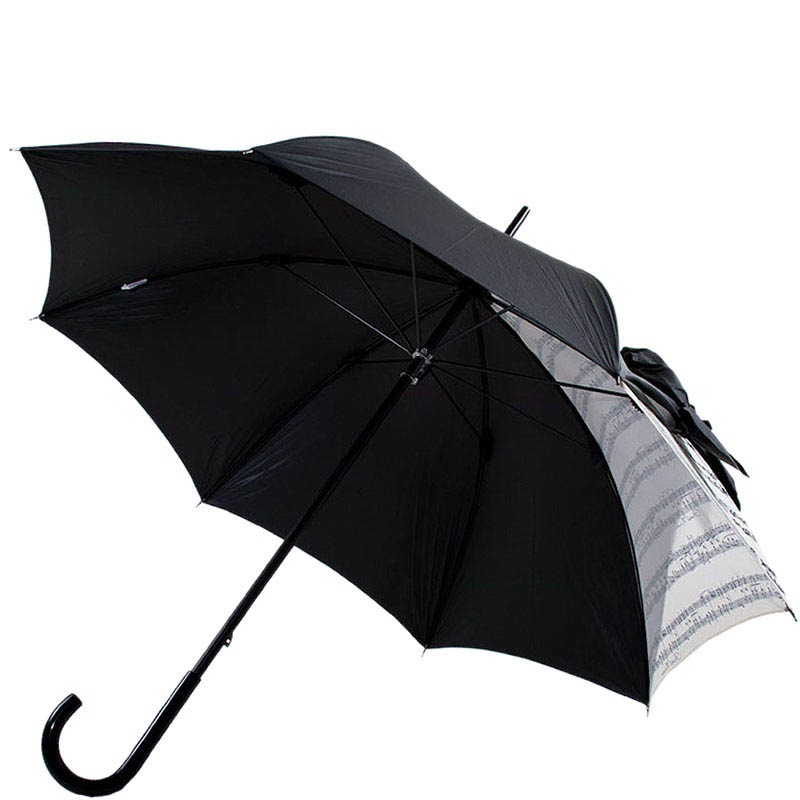 Дизайнерский зонт-трость Chantal Thomass черного цвета с игривым бантом с драпировкой и нотным принтом