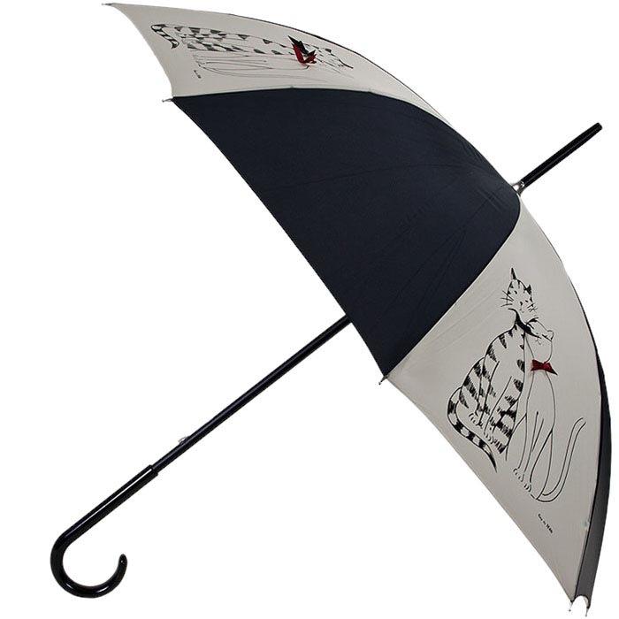 Зонт-трость Guy de Jean черно-бежевого цвета с котиками