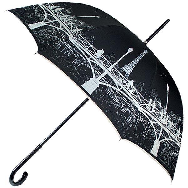 Механический зонт-трость Guy de Jean черного цвета с светлым принтом