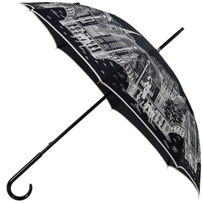 Большой женский зонт-трость Guy de Jean с белым ненавязчивым принтом