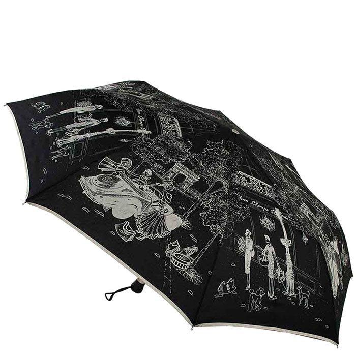 Большой женский черный зонт Guy de Jean с тефлоновой пропиткой и ненавязчивым принтом