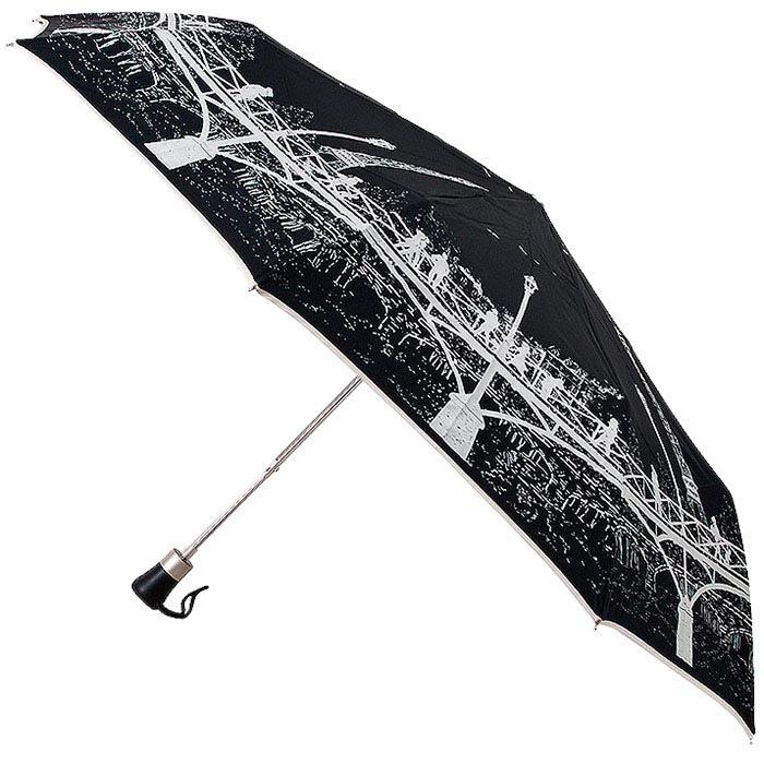 Черный зонт с силуэтом города Guy de Jean в три сложения