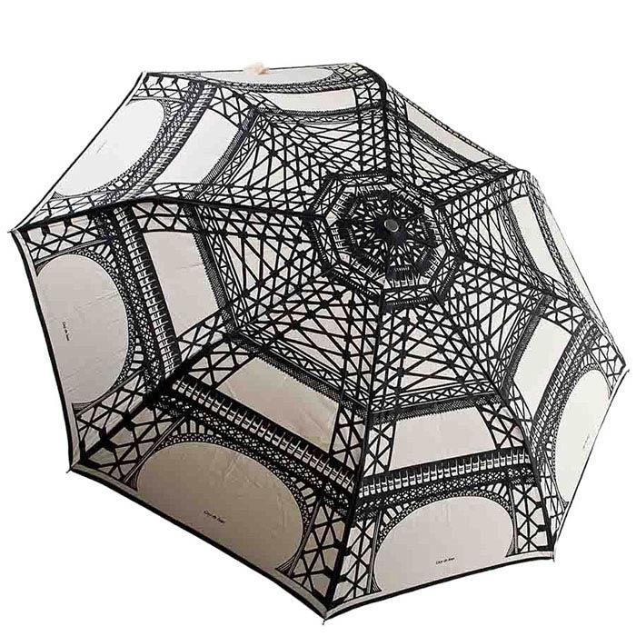 Большой женский зонт-полуавтомат Guy de Jean с принтом Эйфелевой башней