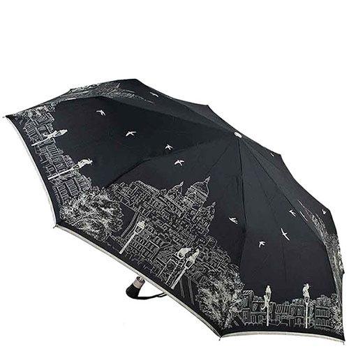 Складной женский зонт Guy de Jean черного цвета с белым принтом-зарисовкой
