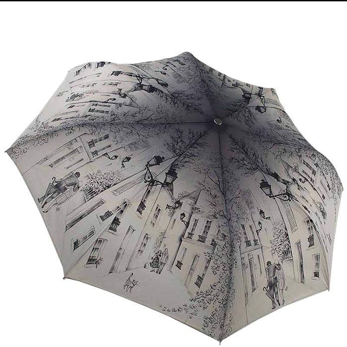 Зонт-полуавтомат Guy de Jean бежевого цвета с зарисовками улиц