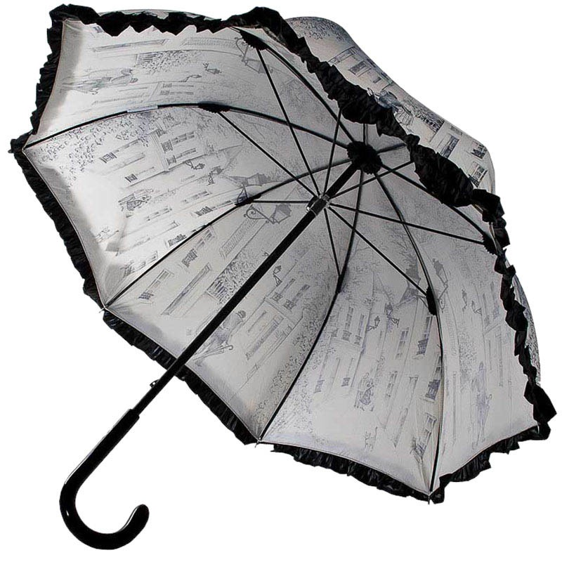 Женственный механический зонт-трость Guy de Jean бежевого цвета с зарисовками картин и черными рюшами