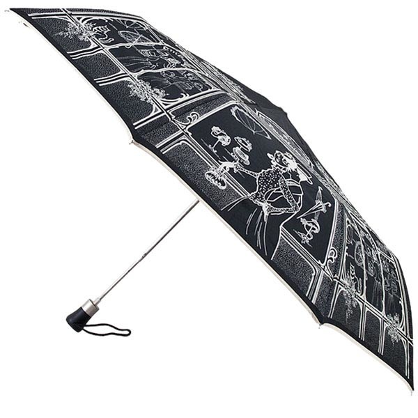 Зонт-полуавтомат Guy de Jean черного цвета со светлым узором в чехле