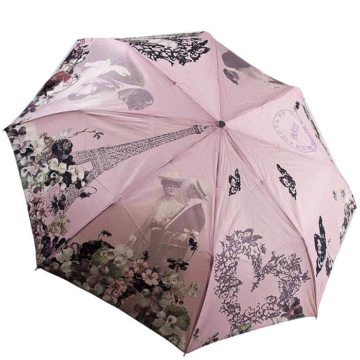 Большой женский полуавтоматический зонт Guy de Jean розового цвета с принтами