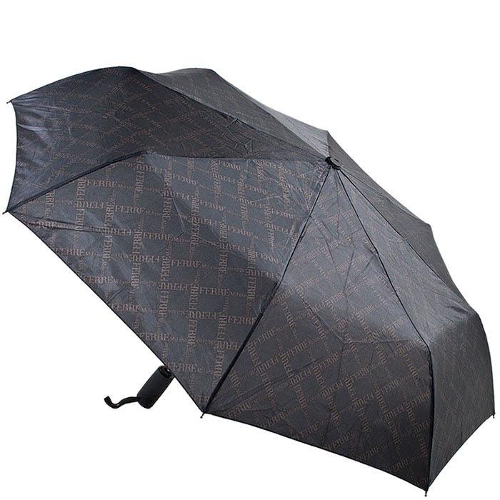 Полуавтоматический зонт Ferre черного цвета с мелким принтом