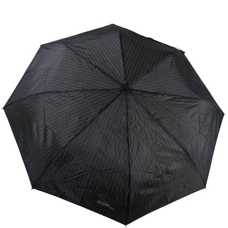 Черный классически зонт Ferre в тонкую полоску с полуавтоматическим механизмом