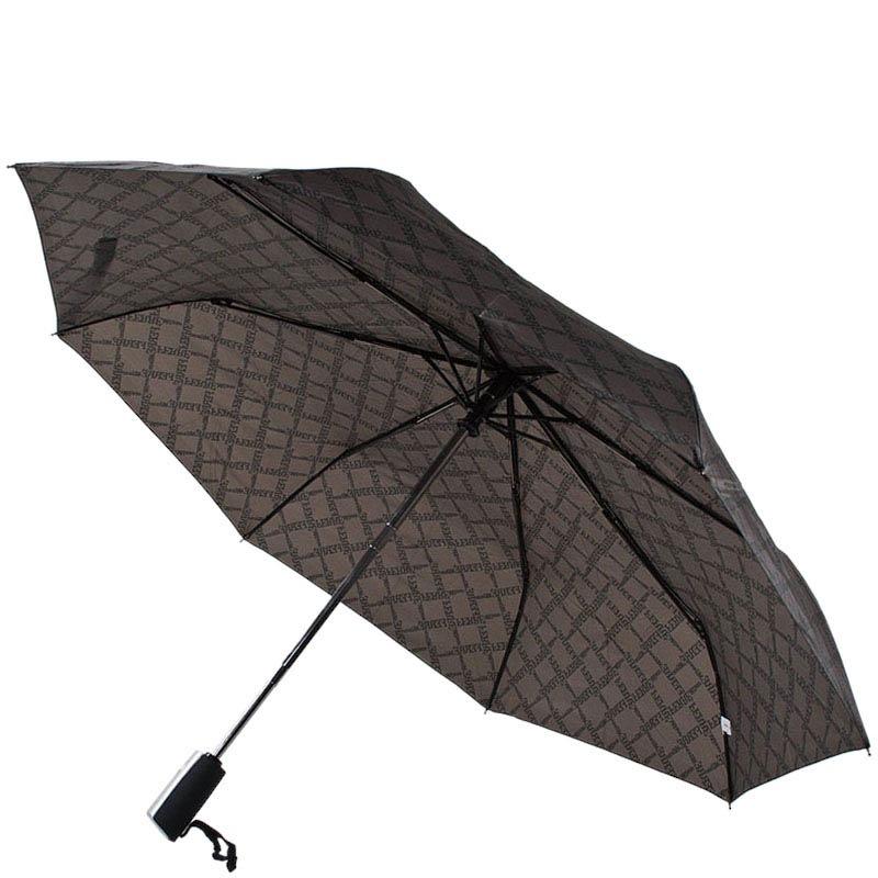 Коричневый мужской зонт Ferre с полуавтоматическим механизмом и брендированым принтом