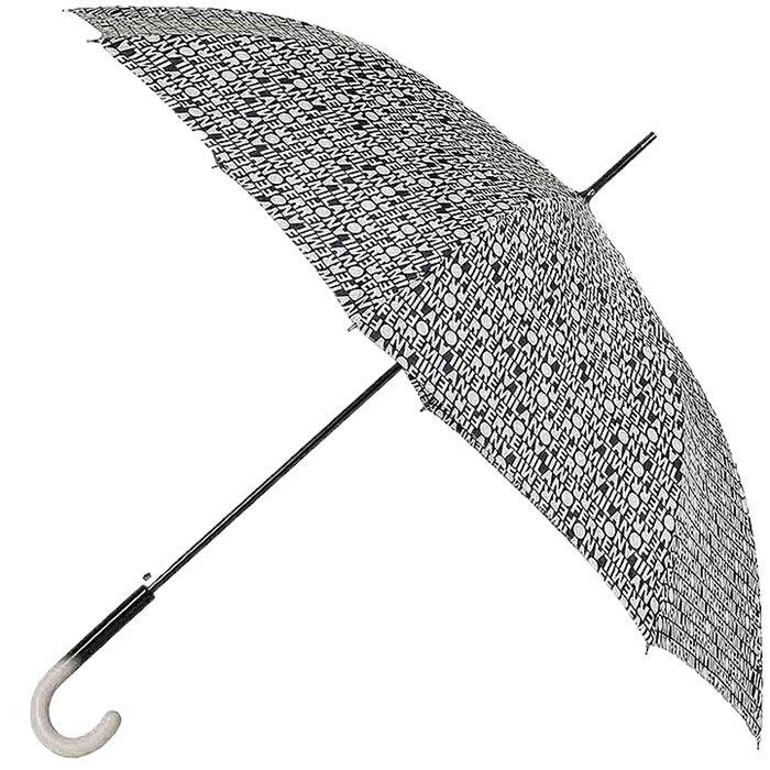 Черно-бежевый зонт-трость Ferre с газетным принтом и полуавтоматическим механизмом