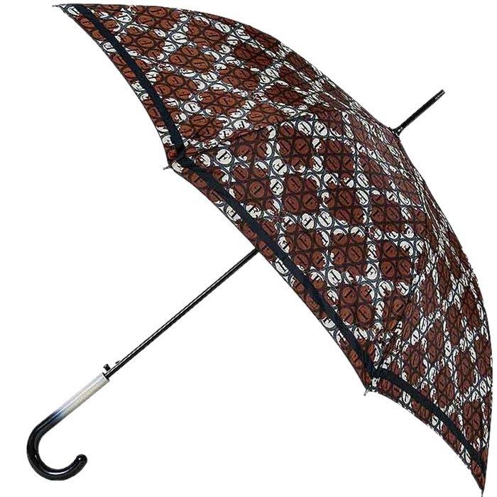 Полуавтоматический зонт-трость Ferre с коричневым принтом и уплотненным каркасом