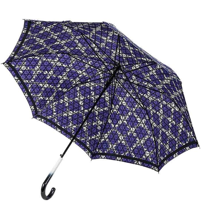 Фиолетовый зонт-трость Ferre с контрастным принтом и полуавтоматическим механизмом
