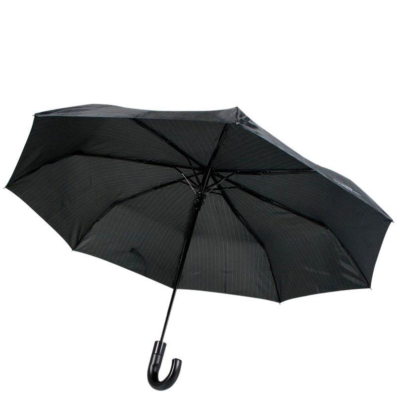 Большой и черный зонт-полуавтомат Ferre с тефлоновой пропиткой и системой антиветер