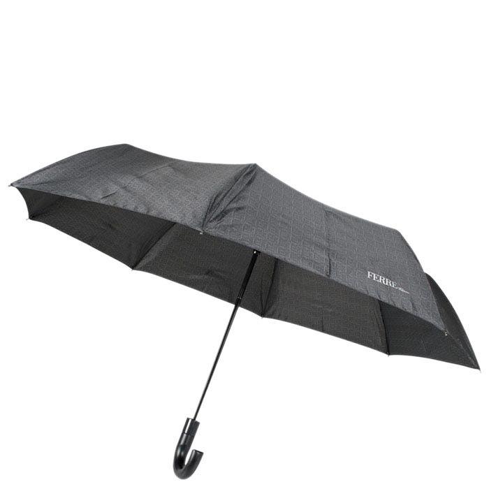 Черный классический мужской зонт Ferre с мелким принтом и тефлоновой пропиткой