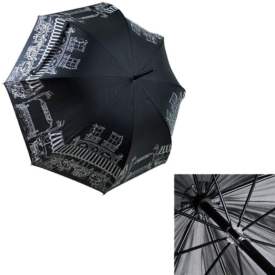 Женский механический зонт-трость Guy de Jean черного цвета с рисунком улочек