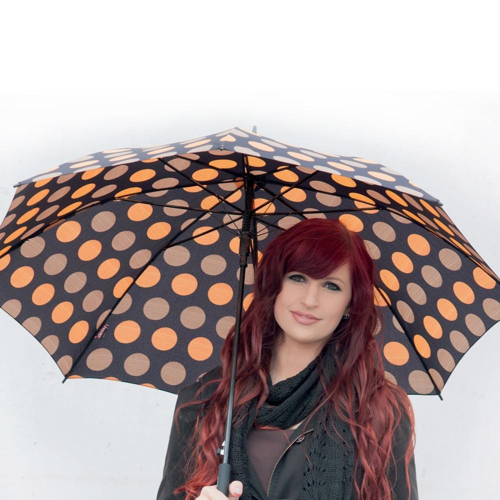 Зонт Derby механический в 3 сложения с 8 спицами в оранжевый и бежевый горох
