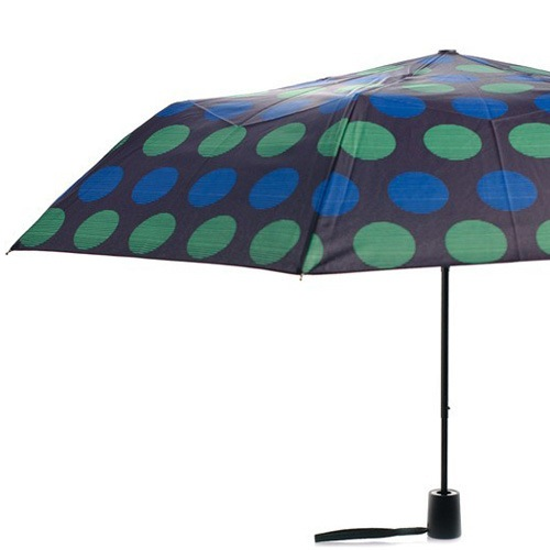 Зонт Derby механический в 3 сложения с 8 спицами в синий и зеленый горох