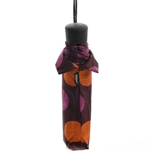Зонт Derby механический в 3 сложения с 8 спицами в розовый и оранжевый горох