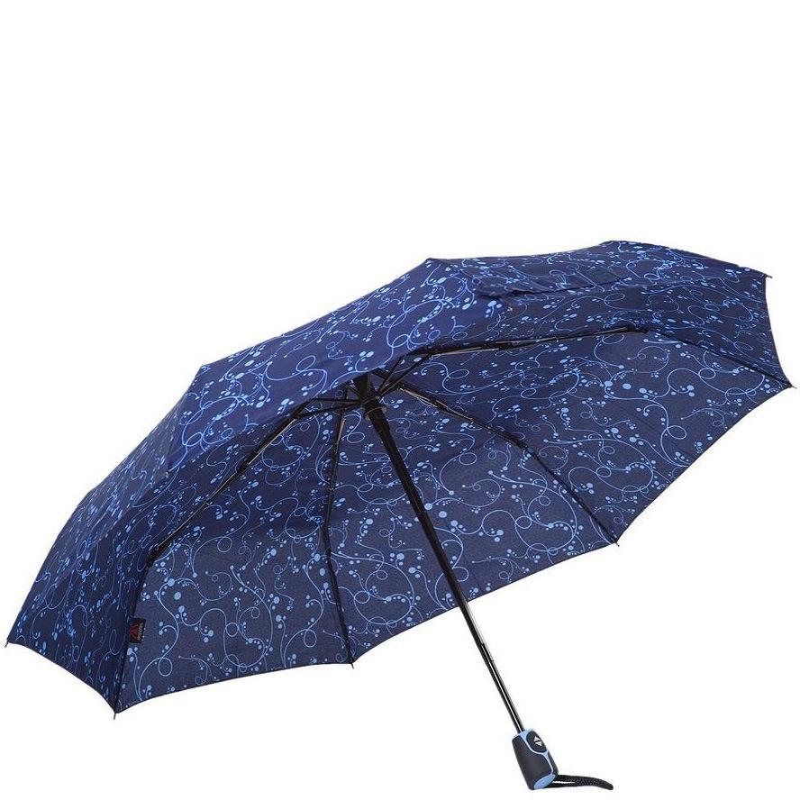 Зонт-полуавтомат Derby в 3 сложения синий с ажурным рисунком