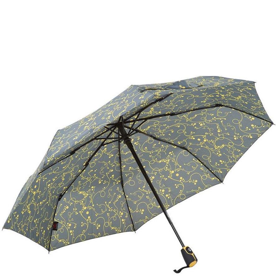Зонт-полуавтомат Derby в 3 сложения серый с желтым ажурным рисунком