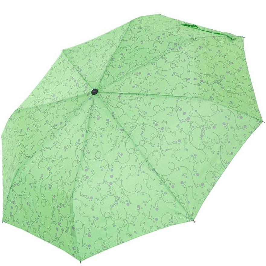Зонт-полуавтомат Derby в 3 сложения салатовый с ажурным рисунком