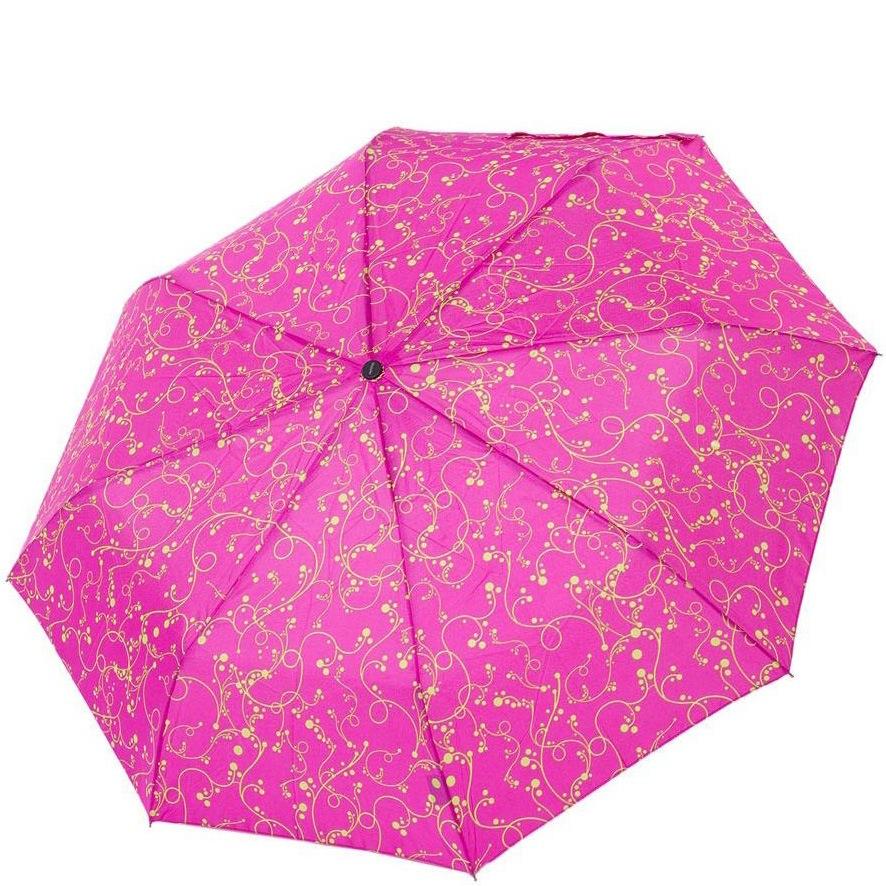 Зонт-полуавтомат Derby в 3 сложения ярко-розовый с желтым ажурным рисунком