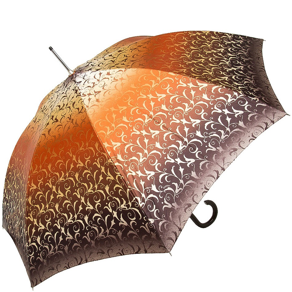 Зонт-трость Doppler SATIN автомат в коричневых и оранжевых тонах с роскошным ажурным орнаментом