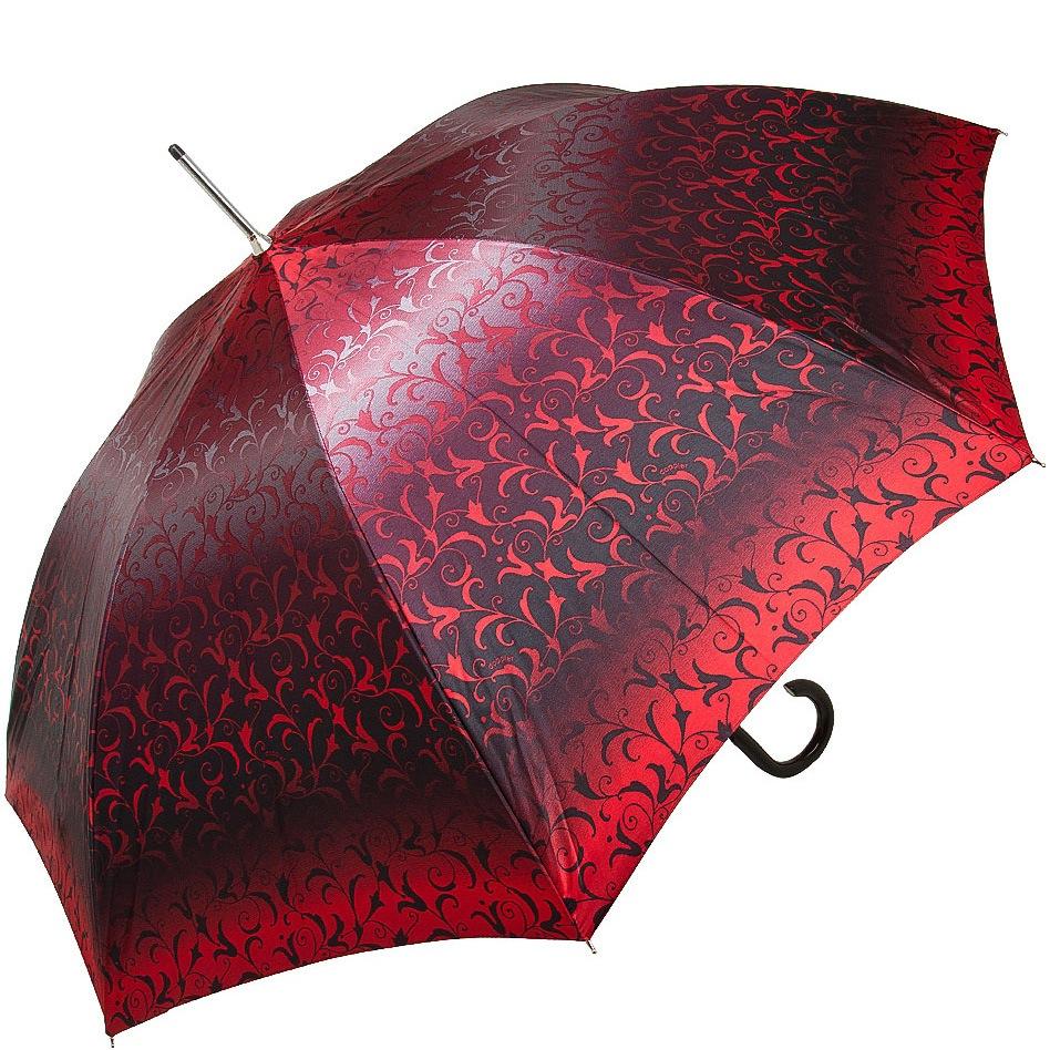 Зонт-трость Doppler SATIN автомат в красных тонах с роскошным ажурным орнаментом