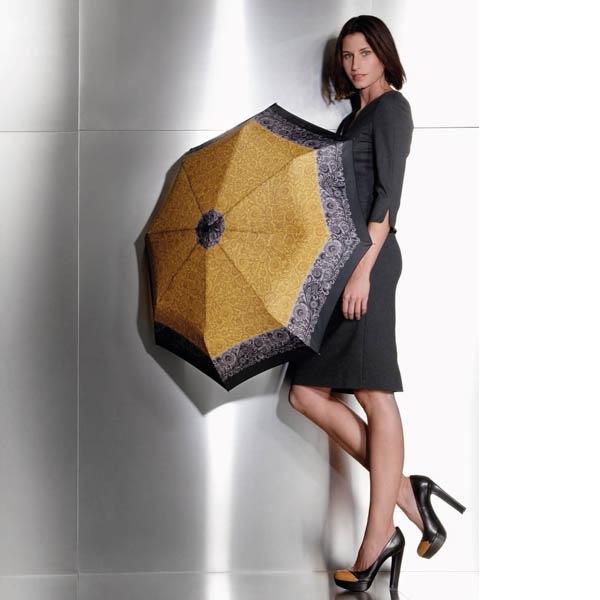 Зонт-полуавтомат Doppler женский 73016518 желтого цвета с узорным кантом серого цвета