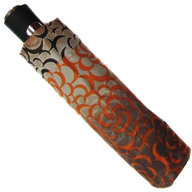 Зонт-полуавтомат Doppler женский 73016519 коричневого цвета с оранжевым узором