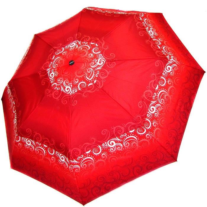 Зонт-полуавтомат Doppler женский 73016519 красного цвета с белыми узорами