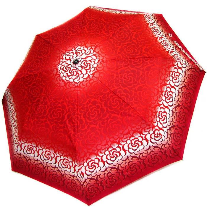 Зонт-полуавтомат Doppler женский 73016519 красного цвета с белыми узорами и темно-красным кантом